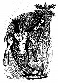 Black and white graphics: two mermaid - two archaic spirit of nature poster
