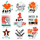May 1 logo. Holiday of labor and spring, logo, a symbol. Socialism, equality, fraternity logo, sign. May 1 international day logo. Holiday weekend, may day - symbol, label. poster
