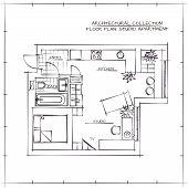 Architectural Hand Drawn Floor Plan. Studio Apartment poster