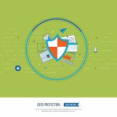 Flat shield icon. Data protection concept. Social network security. Investment security. Successful business strategy Color line icons poster