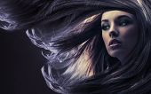 Beautiful lady with long brown hair, at moonlight poster