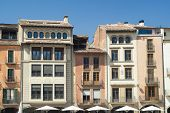 Vic (Catalunya Spain): historic buildings in the main square of the city poster