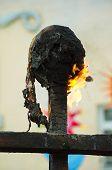 Burning effigies. Spring fire ritual. Burning ritual dolls on pagan celebration of spring. poster