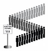 Representation of economic migrants and refugee migration with people queuing for a better future isolated on white background poster
