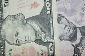 dollar banknotes 5 and 10 with images of presidents poster