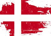 Denmark scratched Flag. A danish flag with a grunge texture poster