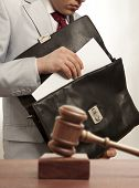 Caucasian lawyer in court. Law concept poster