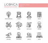 Set of modern vector education simple thin line flat design icons and pictograms. Collection of education infographics objects. Creative process, wisdom, explore, tools, degree, certificate, discover, knowledge, groups, library, lessons, books poster