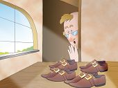 """Pairs of shoes are magically done by the elves. Illustration for the folktale """"the elves and the shoemaker"""". poster"""