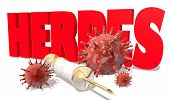 Abstract virus image on backdrop and Herpes text. Herpes virus danger relative illustration. Medical research theme. Virus epidemic alert. 3D rendering poster