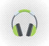 Sale of household appliances. Electronic device green headphones. Sale badge label headphones logo. Home appliances in flat style. Music, headphones isolated, dj, speaker, headset, headphones icon poster