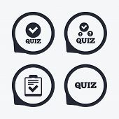 Quiz icons. Checklist with check mark symbol. Survey poll or questionnaire feedback form sign. Flat icon pointers. poster