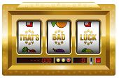 Thats bad luck - golden slot machine with three reels as a symbol for misfortune. Isolated vector illustration on white background. poster