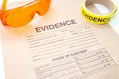 evidence bag and forensic tool for crime scene investigation poster