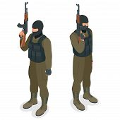 Spec ops police officers SWAT in black uniform. Soldier, officer, sniper, special operation unit, SWAT flat 3d isometric illustration. Soldier with anti-tank rocket launcher - RPG poster