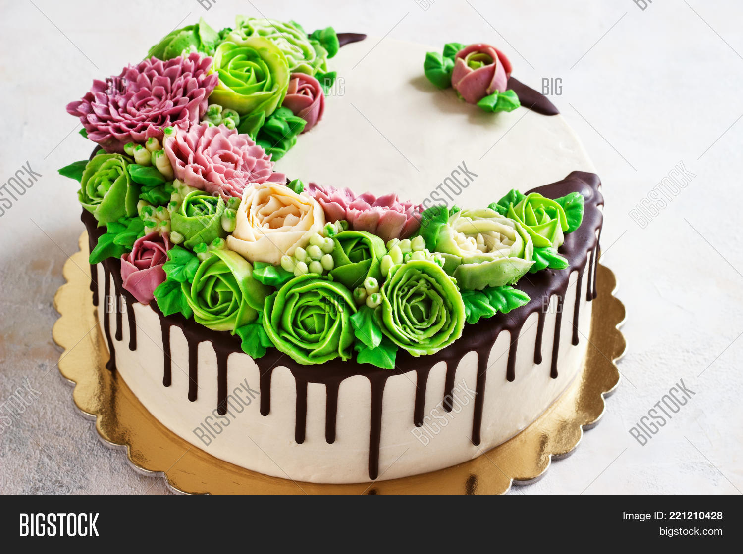 Birthday Cake With Flowers Rose On White Background Malaysian