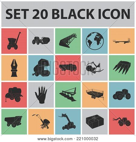 Agricultural machinery black icons in set collection for design. Equipment and device vector symbol stock  illustration.