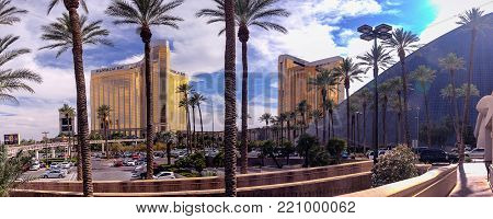 LAS VEGAS, NEVADA - JUNE 11, 2013: Mandalay Bay and THEhotel resort and casino hotels panorama in Las Vegas on June 11, 2013. In 2014 THEhotel was rebranded as the Delano Las Vegas.