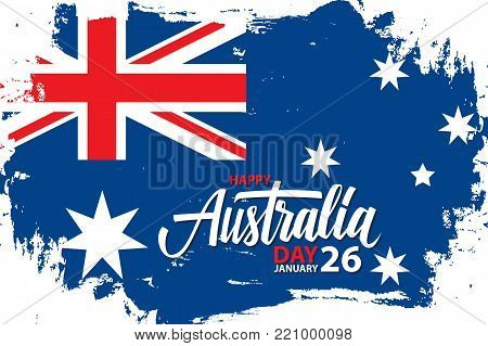 Happy Australia Day, january 26 celebrate banner with hand lettering holiday greetings and brush stroke in colors of the australian national flag. Vector Illustration.