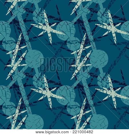 Blue seamless pattern with connected circles and dashes folded in the form of stars. The composition is complemented by a texture in the form of cracks. Can be used in the form of computer wallpaper, backdrop or for printing on fabric or paper.