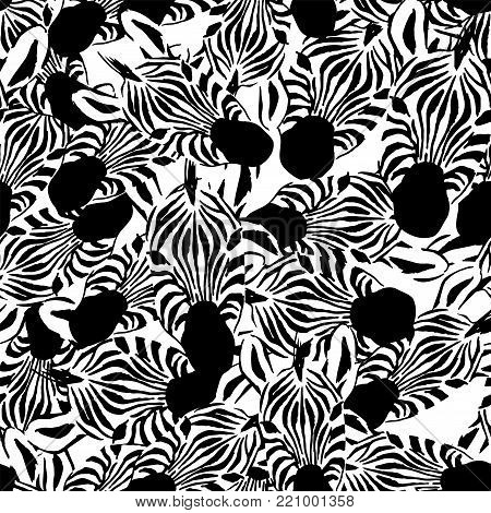 Zebra head seamless vector pattern white background