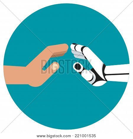 Touch hands of robot and human. Development of progressive innovative technologies, robotics. Flat vector cartoon illustration. Objects isolated on white background.