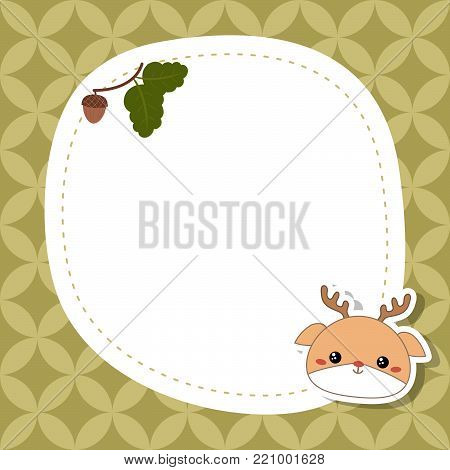 Greeting card with cute deer face. Vector background.
