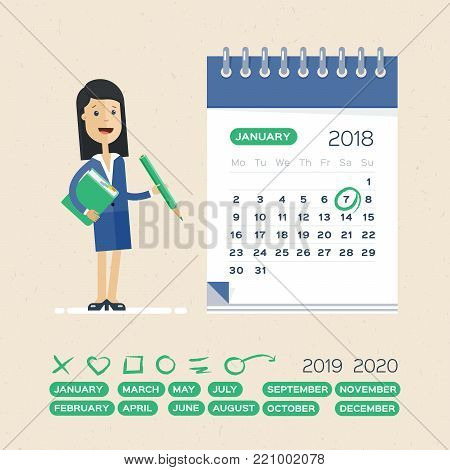 Business woman and calendar. Planning and Scheduling Operation by Drawing Circle Mark on Desk Calendar.