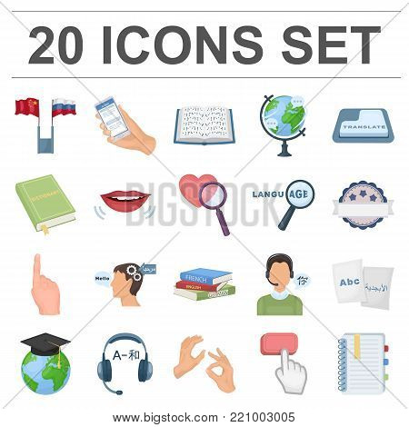 Translator and linguist cartoon icons in set collection for design. Interpreter vector symbol stock  illustration.