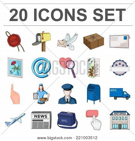 Mail and postman cartoon icons in set collection for design. Mail and equipment vector symbol stock  illustration.