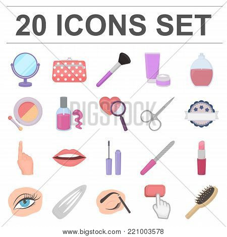 Makeup and cosmetics cartoon icons in set collection for design. Makeup and equipment vector symbol stock  illustration.