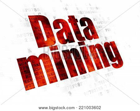 Information concept: Pixelated red text Data Mining on Digital background