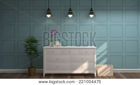 White Cabin and lamp in front of a blue wall decorative items minimal style in empty room vintage style,3drendering luxury living room modern mid century room interior home design