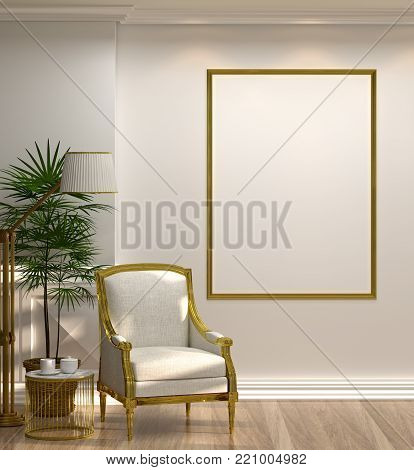 mock up empty photo golden frame white armchair and lamp in front of  green wall with lamp and sideboard in empty room vintage style 3d rendering luxury living room modern mid century room interior home minimal design