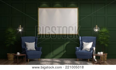 mock up empty photo frame dark blue two armchairs in front of  green wall with lamp and sideboard in empty room vintage style 3d rendering luxury living room modern mid century room interior home minimal design