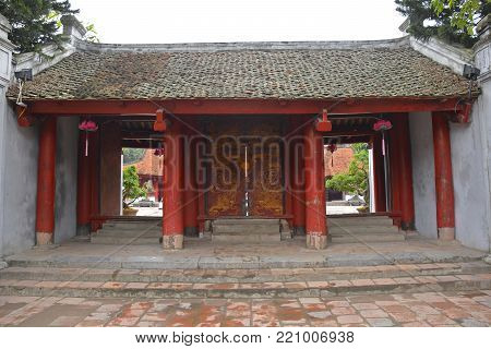 The Gate of Great Synthesis in the Temple of Literature in Hanoi, Vietnam