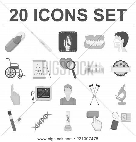 Medicine and treatment monochrome icons in set collection for design. Medicine and equipment vector symbol stock  illustration.