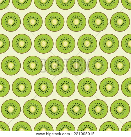 pattern with colored slices of kiwi, background with multicolored cute pieces of fruits