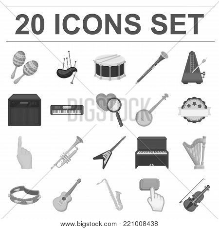 Musical instrument monochrome icons in set collection for design. String and Wind instrument vector symbol stock  illustration.