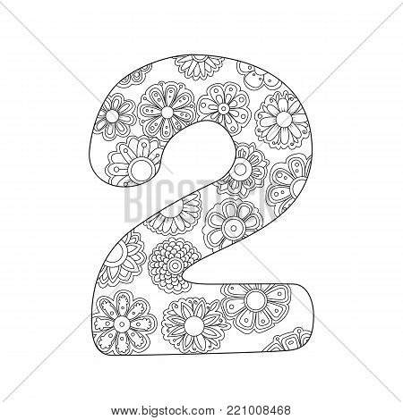 Zen Coloring Book For Adults Number Two Figure 2 Tangle Pattern Floral Ornament Vector