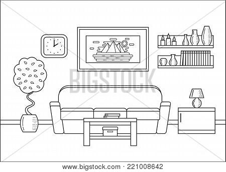 Living room in line art. Room interior. Linear vector illustration. Outline house equipment. Flat design. Home space with sofa and coffee table. Cartoon furniture.
