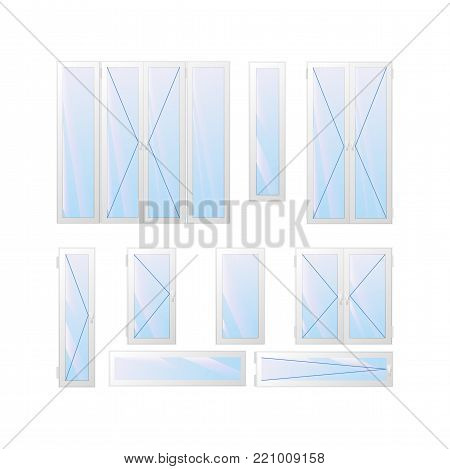 Variety of window and door. Tilt and turn. The view from the apartment. Vector illustration.