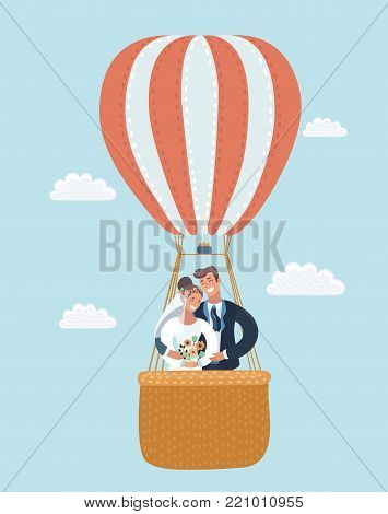 Vector cartoon Illustration of Newlyweds in a Hot Air Balloon. Sky background with clouds.