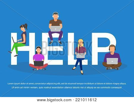 Call center agents flat avatars with headphones. Online support service assistant. Vector illustration.