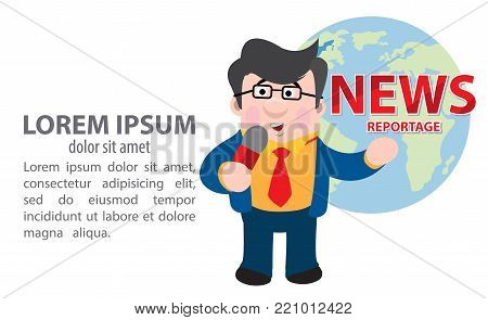 Correspondent is reporting. Vector illustration on white background.
