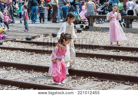 Little Childs Celebrate The Purim Holiday At Tel Aviv's Old Railway Station