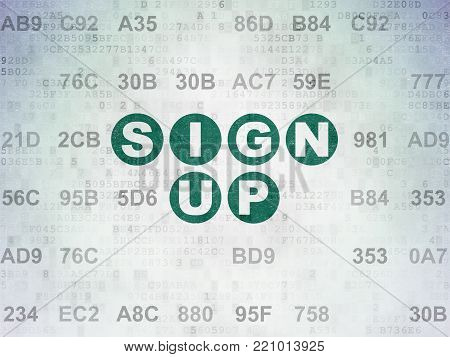 Web development concept: Painted green text Sign Up on Digital Data Paper background with Hexadecimal Code