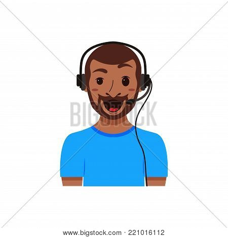 Call center customer support phone operator assistants flat avatars. Men emoji portrait set. Online live chat agents with headphones cartoon illustration