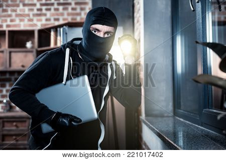 Stealing laptop. Angry professional masked criminal wearing black gloves and holding a torch while stealing a laptop