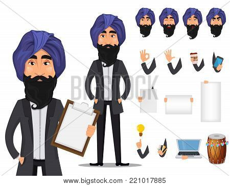 Indian business man cartoon character creation set. Young handsome smiling businessman in business suit and turban. Build your personal design - stock vector